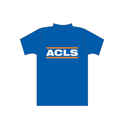 Spencer Camiseta azul con inscripción ACLS
