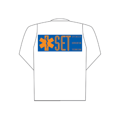 Spencer White polo long sleeve with SET printing (back)