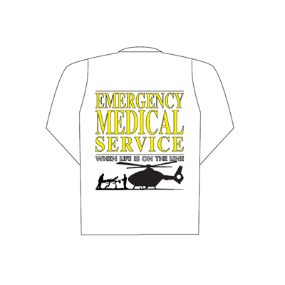 Spencer Polo blanc manches longues avec logo Emergency Medical Service sur le dos