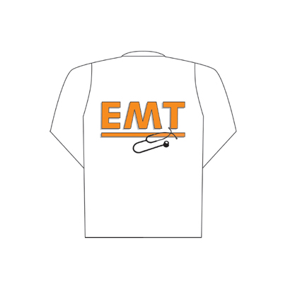 Spencer White polo long sleeve with EMT logo (back)