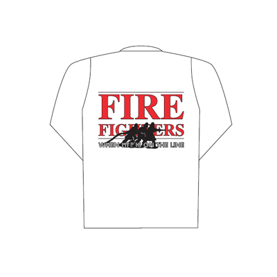 Spencer Polo bianca manica lunga con logo Fire Fighters (schiena)