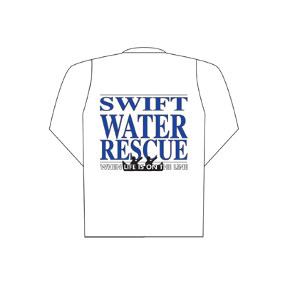 Spencer Pólo branco mangas compridas com logótipo Swift Water Rescue (costas)