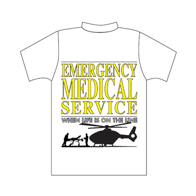 Spencer T-shirt bianca con logo Emergency Medical Service