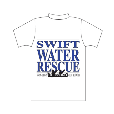 Spencer Camiseta blanca con logo Swift Water Rescue