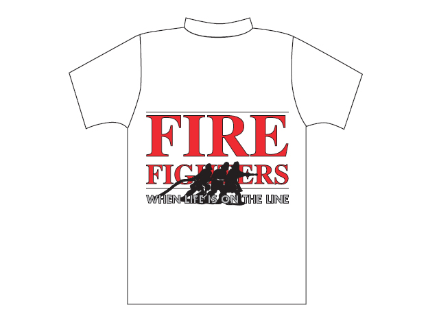T-shirt branca com logótipo Fire Fighters