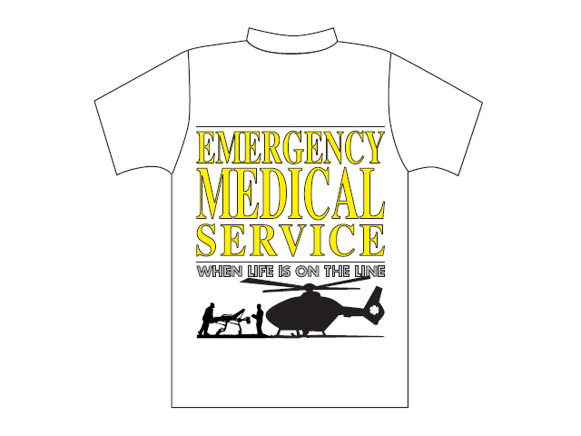 T-shirt branca com logótipo Emergency Medical Service