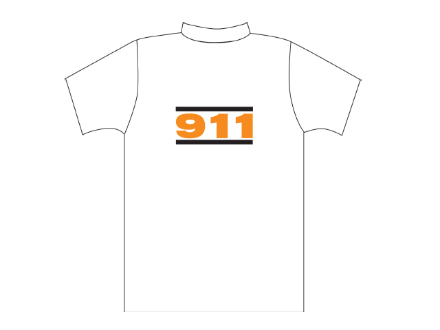 White T-shirt with 911 logo
