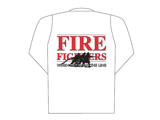White polo long sleeve with Fire Fighters logo (back)