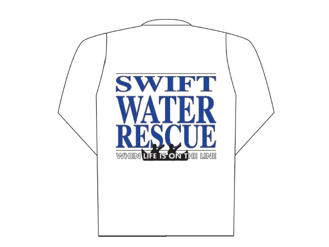 Pólo branco mangas compridas com logótipo Swift Water Rescue (costas)