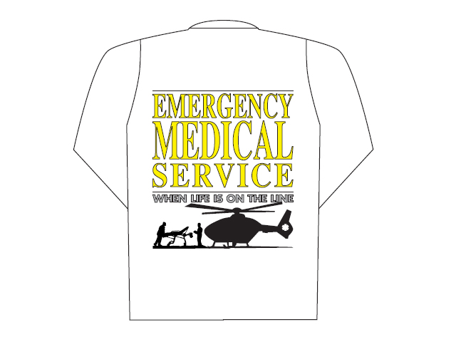 White polo long sleeve with Emergency Medical Service logo (back)