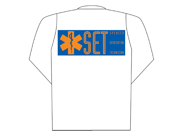 White polo long sleeve with SET printing (back)