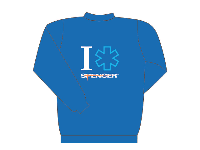 Blue sweater long sleeve with I rescue Spencer writing (back)